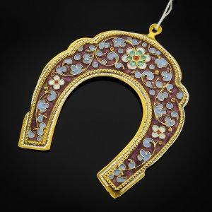 Кубачинская серебряная подкова с эмалью ручной работы малая (футляр в подарок) арт.6590 - фото 1