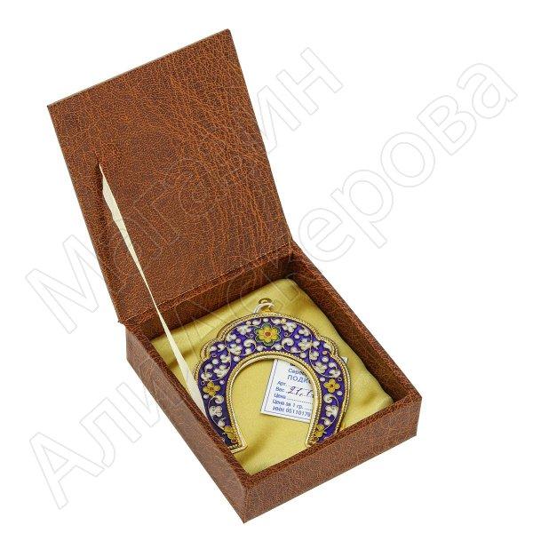 Кубачинская серебряная подкова с эмалью ручной работы малая (футляр в подарок) арт.6591