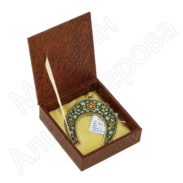 Кубачинская серебряная подкова с эмалью ручной работы малая (футляр в подарок) арт.6592