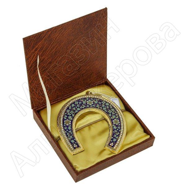 Кубачинская серебряная подкова с эмалью ручной работы большая (футляр в подарок) арт.6594