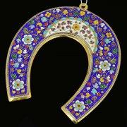 Кубачинская серебряная подкова с эмалью ручной работы большая (футляр в подарок) арт.6596