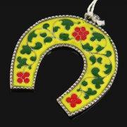 Кубачинская серебряная подкова с эмалью ручной работы малая арт.7847