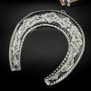 Кубачинская серебряная подкова ручной работы большая арт.6175