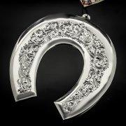 Кубачинская серебряная подкова ручной работы большая арт.6196