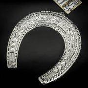Кубачинская серебряная подкова ручной работы большая арт.6215