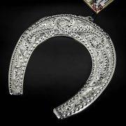Кубачинская серебряная подкова ручной работы большая арт.6225