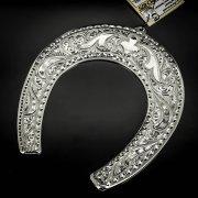 Кубачинская серебряная подкова ручной работы большая арт.6226