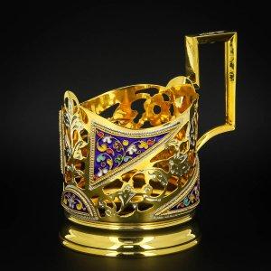 Серебряный подстаканник Кубачи с эмалью (стакан и коробка - в подарок) арт.6602 - фото 1