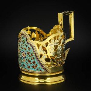 Серебряный подстаканник Кубачи с эмалью (стакан и коробка - в подарок) арт.6603 - фото 1
