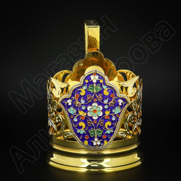 Серебряный подстаканник Кубачи с эмалью (стакан и коробка - в подарок) арт.6604