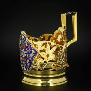 Серебряный подстаканник Кубачи с эмалью (стакан и коробка - в подарок) арт.6604 - фото 1