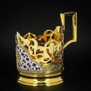 Серебряный подстаканник Кубачи с эмалью (стакан и коробка - в подарок) арт.6606