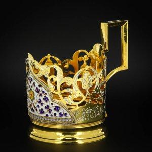 Серебряный подстаканник Кубачи с эмалью (стакан и коробка - в подарок) арт.6606 - фото 1