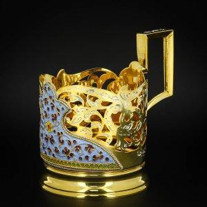 Серебряный подстаканник Кубачи с эмалью (стакан и коробка - в подарок) арт.6607 - фото 1