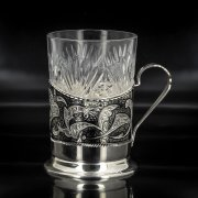 Серебряный подстаканник Кубачи (стакан и коробка - в подарок) арт.4769