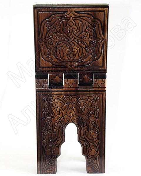 Деревянная раскладная подставка под Коран ручной работы с узорами малая (выжигание)