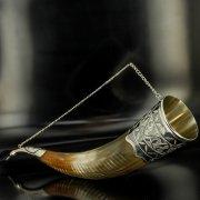 Элитный серебряный рог бычий Кубачи с пиалой арт.4949
