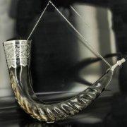Элитный серебряный рог тура Кубачи с пиалой арт.4935
