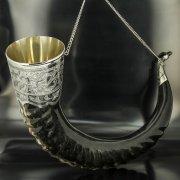 Элитный серебряный рог тура Кубачи с пиалой арт.4936