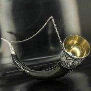 Элитный серебряный рог турий Кубачи с пиалой арт.4937