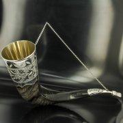 Элитный серебряный рог турий Кубачи с пиалой арт.4938