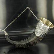 Элитный серебряный рог турий Кубачи с пиалой арт.4939