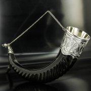 Элитный серебряный рог турий Кубачи с пиалой арт.4950