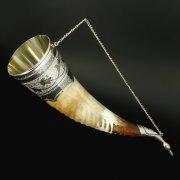 Элитный серебряный рог бычий Кубачи с пиалой в подарочном футляре из бархата арт.6522