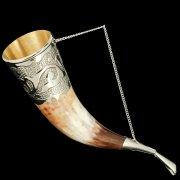 Кавказский рог бычий (отделка - мельхиор, гоцатлинская чеканка) арт.7432