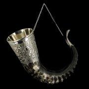 Элитный рог кавказского тура с пиалой (отделка - мельхиор, гоцатлинская чеканка) арт.7433