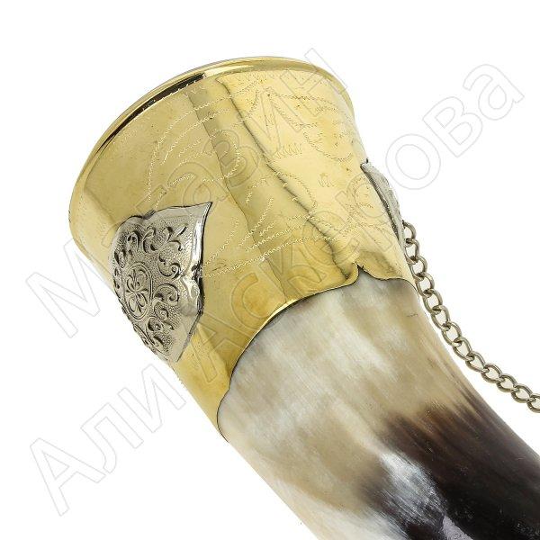 Кавказский рог бычий с медальонами (отделка - латунь, мельхиор) арт.7435
