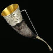 Кавказский рог бычий (отделка - мельхиор) арт.9564