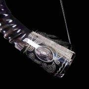 Элитный рог кавказского тура с пиалой и медальонами мельхиоровый арт.2871