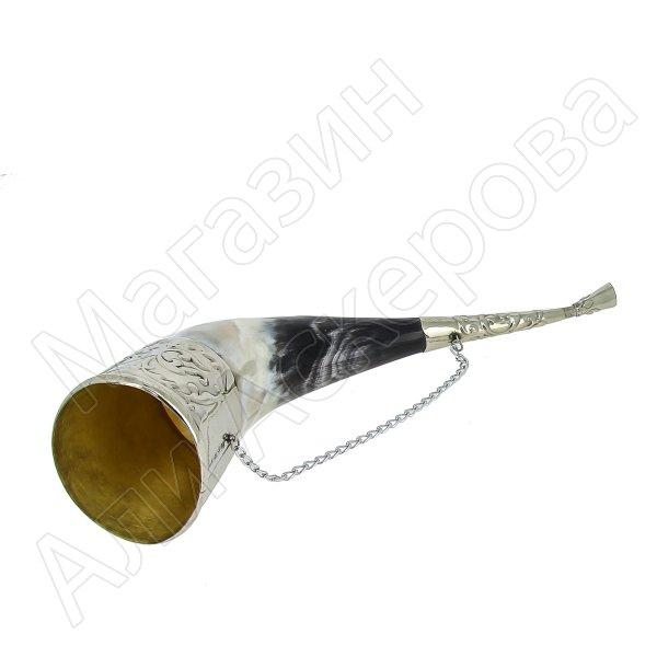 Кавказский рог бычий малый (отделка - мельхиор) арт.6016