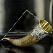 Элитный серебряный рог бычий Кубачи с пиалой арт.4940