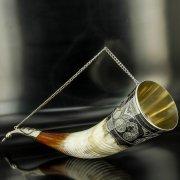 Элитный серебряный рог бычий Кубачи с пиалой арт.4941