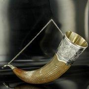 Элитный серебряный рог бычий Кубачи с пиалой арт.4942