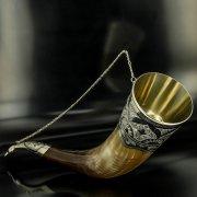 Элитный серебряный рог бычий Кубачи с пиалой арт.4943