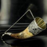 Элитный серебряный рог бычий Кубачи с пиалой арт.4944