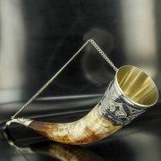 Элитный серебряный рог бычий Кубачи с пиалой арт.4945