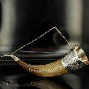 Элитный серебряный рог бычий Кубачи с пиалой арт.4946