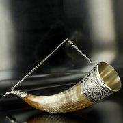 Элитный серебряный рог бычий Кубачи с пиалой арт.4947
