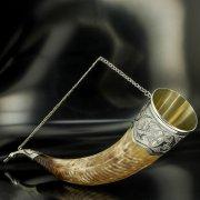 Элитный серебряный рог бычий Кубачи с пиалой арт.4948