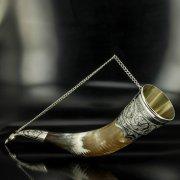Элитный серебряный рог бычий Кубачи с пиалой арт.4951