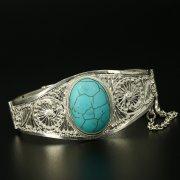 Серебряный кубачинский браслет с филигранью ручной работы арт.9765