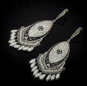 Кубачинские серебряные серьги ручной работы с чернением №21