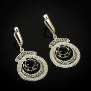 Кубачинские серебряные серьги ручной работы с филигранью (камень - агат) арт.6908