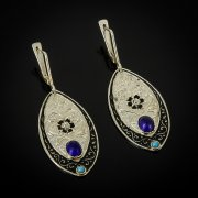 Кубачинские серебряные серьги ручной работы с филигранью (камень - корунд) арт.6916