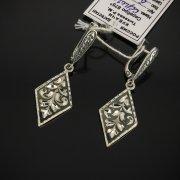 Кубачинские серебряные серьги ручной работы с чернением арт.7472