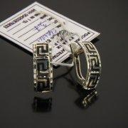 Кубачинские серебряные серьги ручной работы с чернением арт.7483